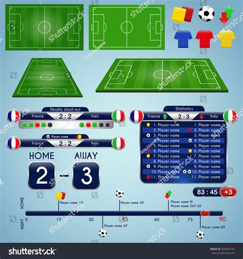 broadcast graphics templates broadcast graphics sport program soccer match stock vector