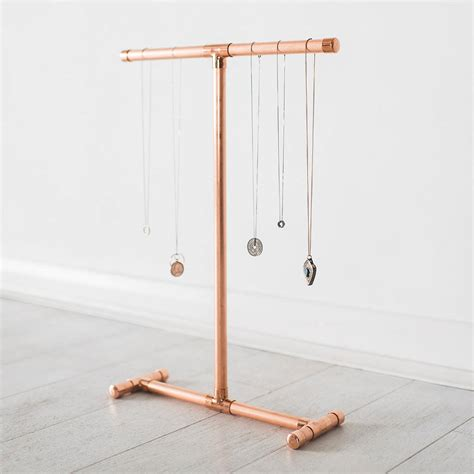 copper jewellery stand for necklaces and bracelets by