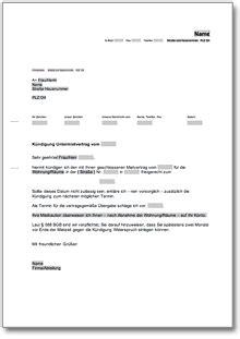 Musterbrief K Ndigung Gasversorger k 252 ndigung untermietvertrag fristgem 228 223 untervermieter