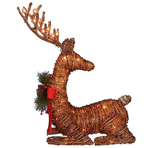 26 inch lighted brown rattan reindeer bed bath beyond