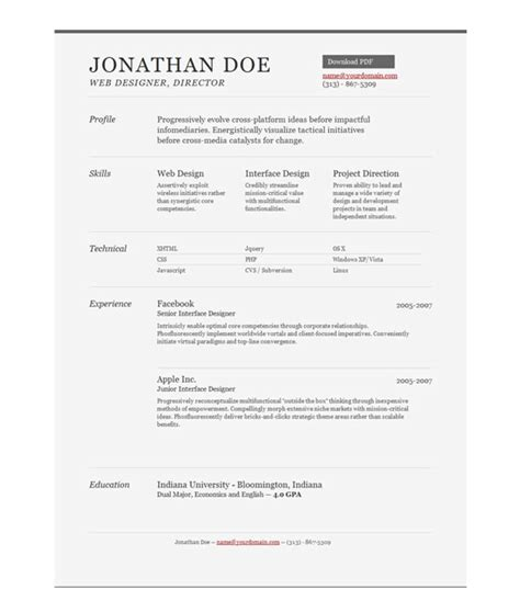 Free Template One Page by Free Professional One Page Resume Templates The