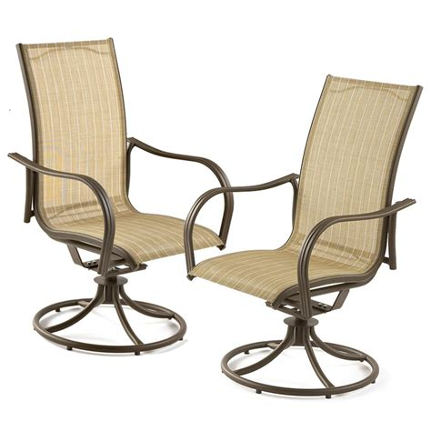 Patio Swivel Chair Swivel Motion Patio Chairs Shop Garden Treasures Vinehaven 2 Count Brown Steel Swivel Patio