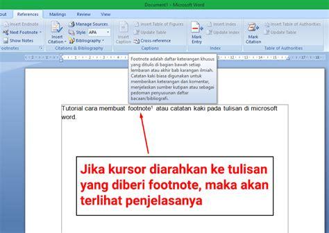 cara membuat catatan kaki pada microsoft word cara membuat footnote atau catatan kaki di ms word