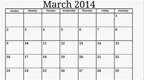 Blank March Calendar For Kindergarten