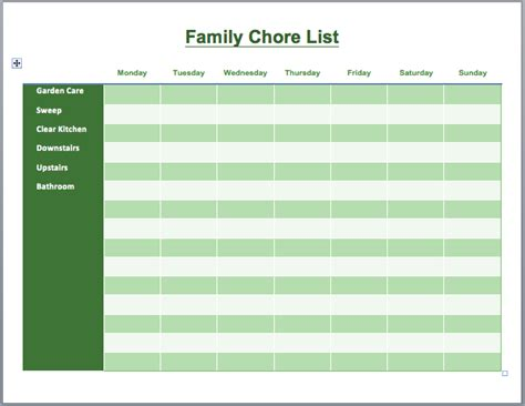 28 household chore list template printable blank