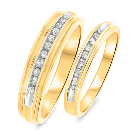 gold wedding bands his and hers 1 3 ct t w his and hers wedding band set 14k