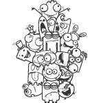 doodle characters monsters colored doodle vector 40 vectors page 1