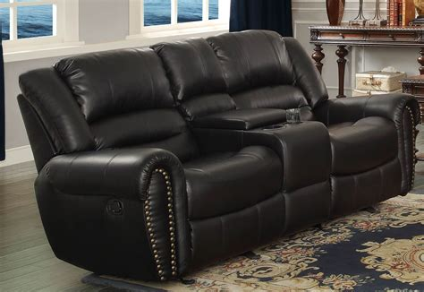 Reclining Sofa With Center Console Center Hill Black Glider Reclining Loveseat With Console From Homelegance 9668blk 2