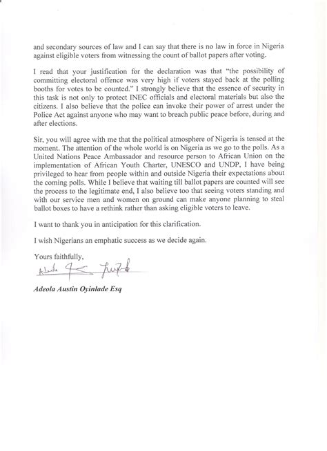 Response Clarification Letter Letter To Igp By United Nations Peace Ambassador Adeola