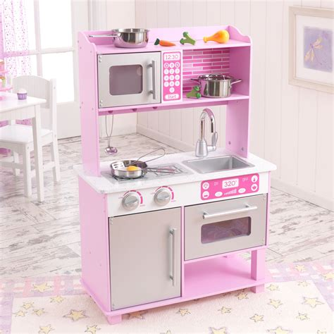 Kitchen Set Pink kidkraft pink toddler play kitchen with metal accessory