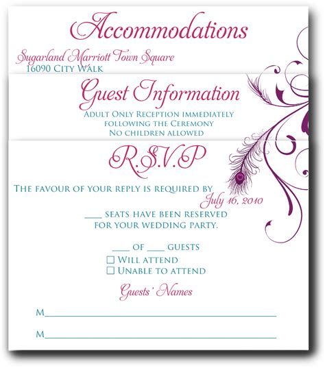 wedding invitation insert templates signatures by wedding invitation inserts for