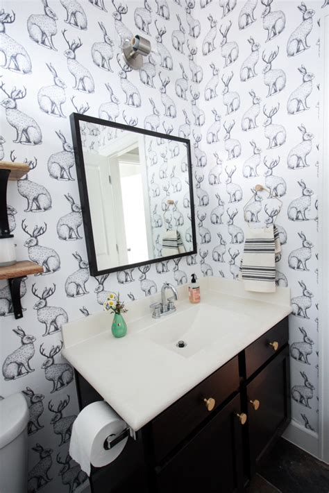 can you put wallpaper in the bathroom jackalope wallpaper bathroom diy smooth textured walls