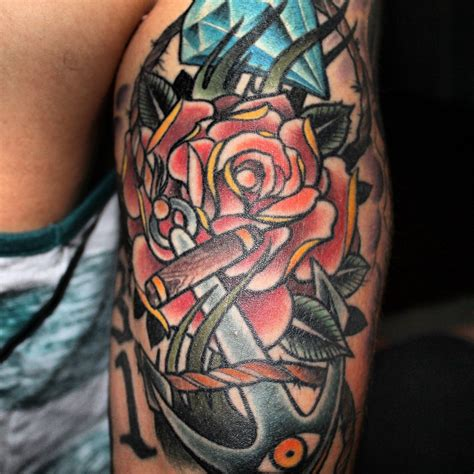 oldschool rose tattoo the world s best photos of anchor and oldschool flickr