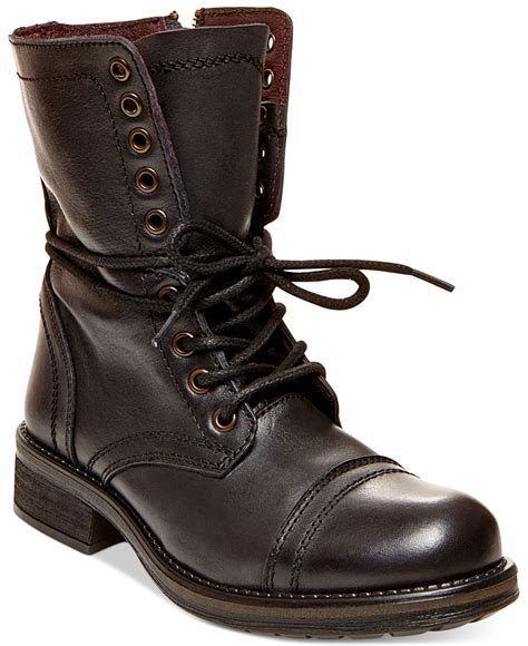 steve madden boots for steve madden black tropa 2 0 combat boots lyst