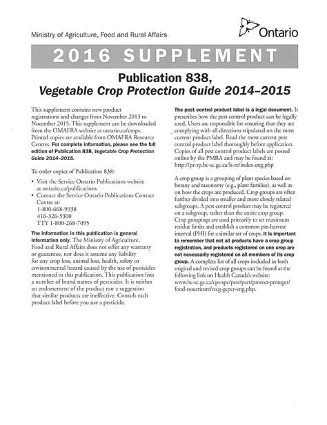 2016 supplement guide 2016 supplement to omafra vegetable crop protection guide