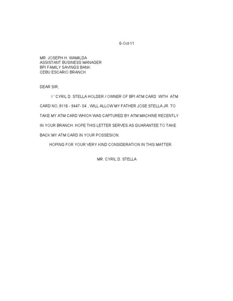 authorization letter to bank to collect atm card bpi authorization letter