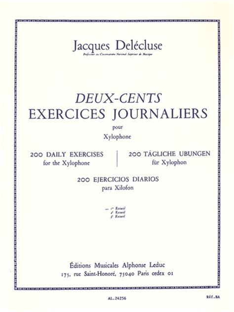 Vocal Piano Xylofon jacques 233 cluse 200 exercices journaliers vol 1