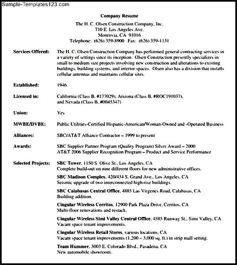 construction entry level resume download sle templates