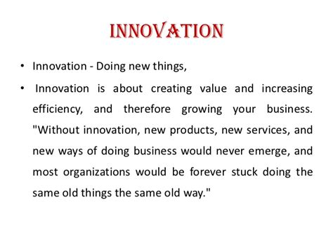 Mba In Innovation And Technology by Creativity And Innovation Ppt Mba