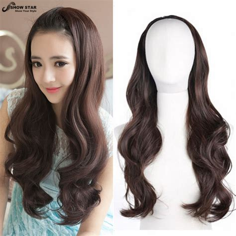 Ho1398 Hair Ekstension Half Brown synthetic hair half wig for wigs brown cheap hair 3 4 wig wavy heat resistant