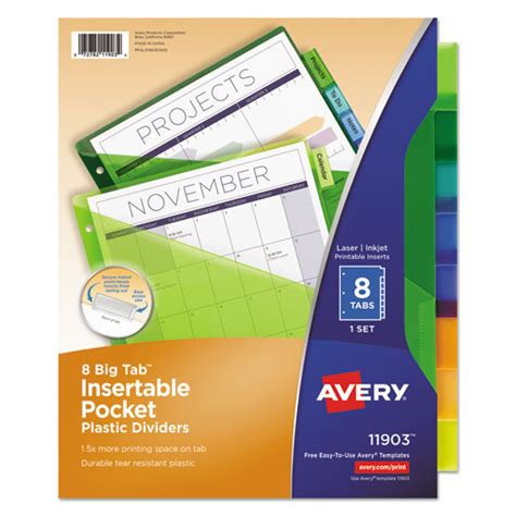 avery template 11903 superwarehouse insertable big tab plastic dividers w