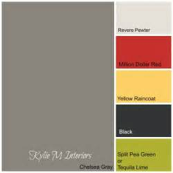 Colour paint palette using chelsea gray green yellow red and black