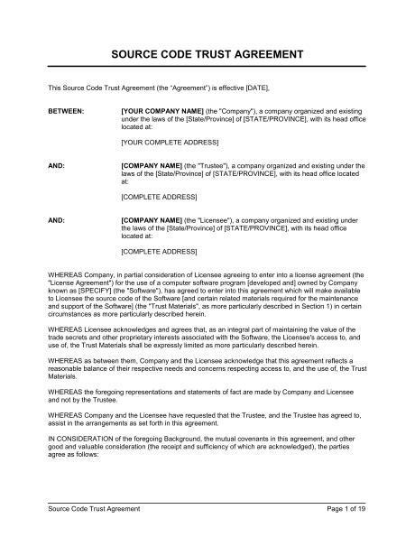 Source Code Trust Agreement Template Sle Form Biztree Com Land Trust Agreement Template