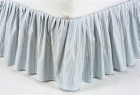 bed skirt full brighton blue ticking stripe twin full queen or king bed