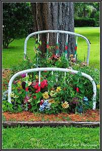 Bed Frame Yard Flower Bed Garden Ideas With Antiques Vintage Items