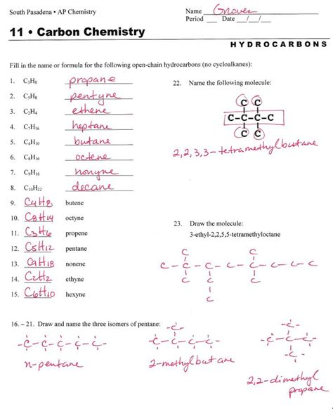 hydrocarbon nomenclature naming hydrocarbons practice worksheet answers organic chem