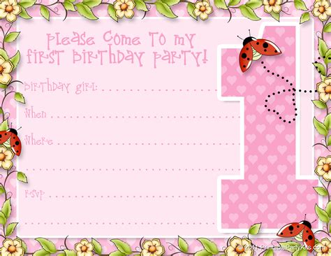 printable 1st birthday announcements printable - Free Printable 1st Birthday Invites