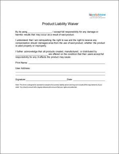 Gl Guarantee Letter Pin Free Liability Release Forms Consumer Product On