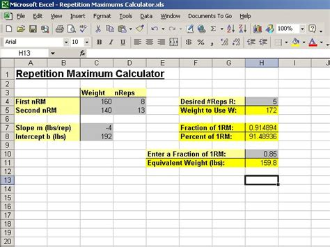 max bench formula creating a repetition maximums calculator