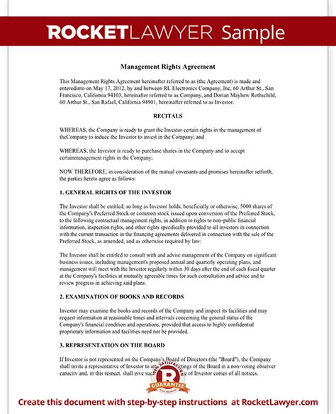 Sle Agreement Letter For Investors Investment Management Agreement Management Rights Letter With Sle