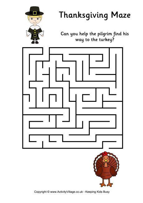 free printable turkey mazes thanksgiving maze 1