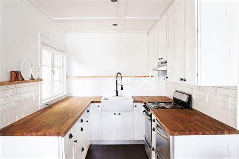 white kitchen cabinets with butcher block countertops sarah sherman samuel cabin progress kitchen plate rail