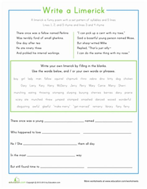 writing limericks worksheet writing limericks by lbrowne