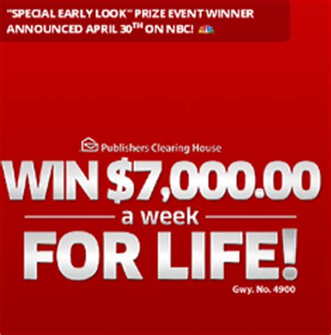 Publishers Clearing House Winning Numbers - publishers clearing house win 7 000 a week for life from giveaw giveawayus com