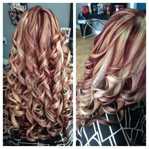 what red highlights look like in blonde streaked hair 501 best chunky streaks lowlights 1 images on pinterest