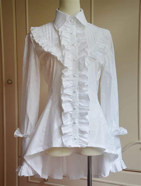 Whity Blouse classic white black turn collar high low sleeve blouse with heavy ruffles in