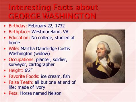 biography facts about george washington on apr 6 1789 g washington was elected 1st prez of