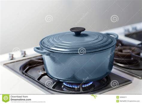 Gas Pot Blue Pot On A Gas Stove Stock Image Image 32995211