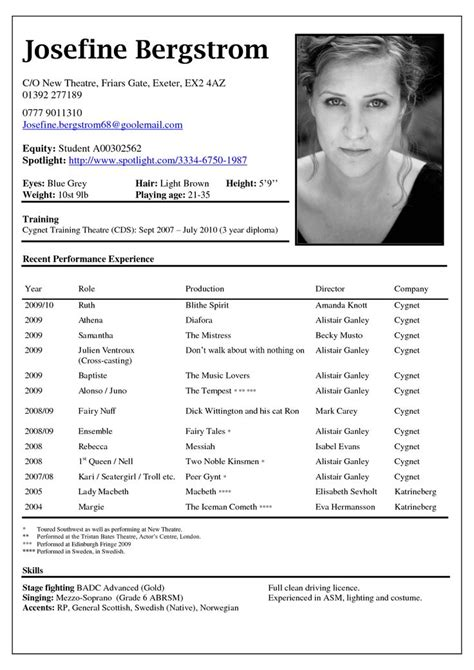 resume templates for actors 25 unique acting resume template ideas on