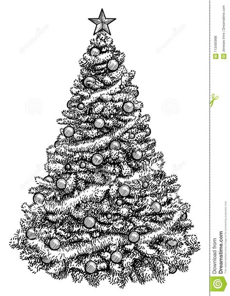 christmas tree drawing in pencil tree illustration drawing engraving ink line vector stock vector