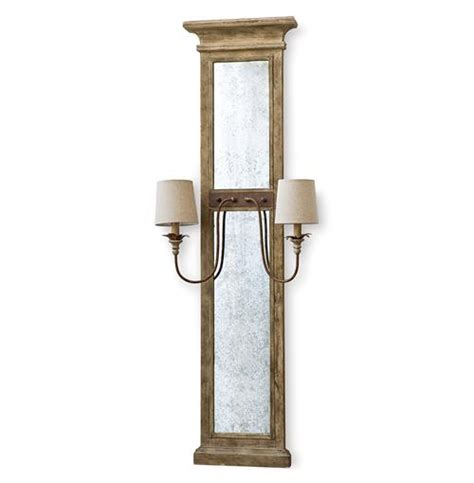 weathered french country bath sconce 2 light shades of vivant french country wood antique mirror with sconces