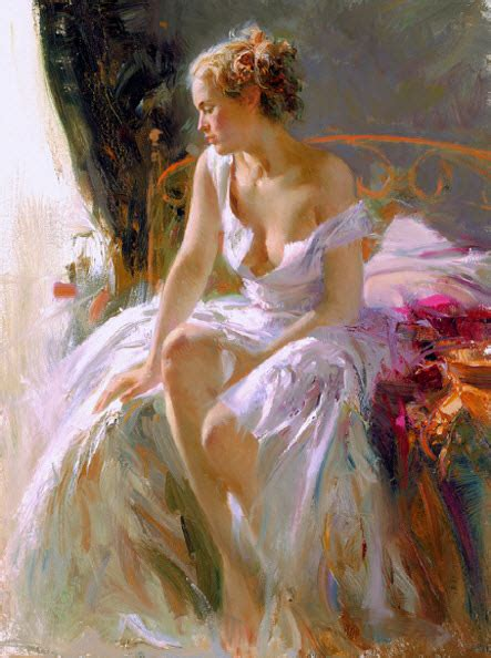Hand Painted Dining Room Tables by Artist Pino Daeni Romantic Women Paintings