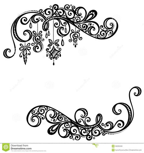 decorations drawings beautiful frame with decorations stock