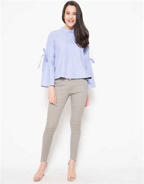 connexion ribbon sleeves detailed blouse biru 3911037 4 29191 rimma co smart is the new chic