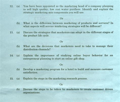 Mba International Marketing Question Paper by Chennai Ba 9223 Marketing Management