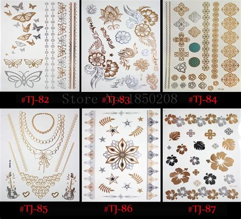 X087 Tatto Temporary Stiker Size 10 5 X 6cm temporary sticker metallic top best fashion